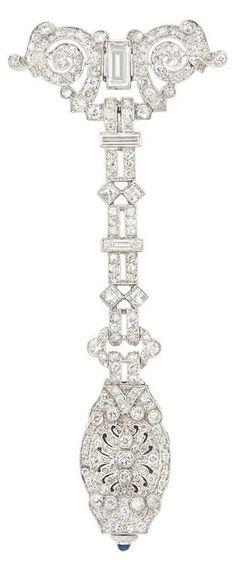 A Belle Époque Platinum and Diamond Lapel Watch, Audemars Piguet. Movement signed Audemars Piguet, Swiss, numbered, case signed Wittnauer Co., Geneva, circa 1915. #BelleEpoque #Piguet #watch