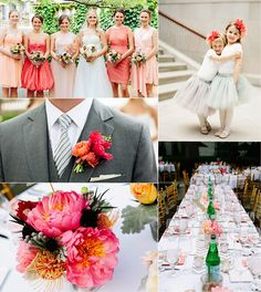 Coral Wedding Ideas.i love how the groom only matches by his boutineer