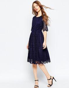 ASOS | ASOS Double Layer Scalloped Lace Midi Dress at ASOS