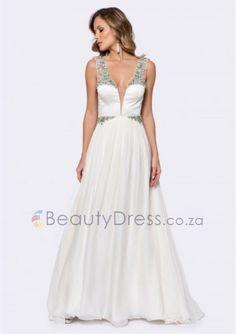 Floor-length Ivory Chiffon A-line backless evening dress with V-neck - - Prom Dresses Evening Dresses, Prom Dresses, Formal Dresses, Wedding Dresses, Hair Removal, Backless, Chiffon, Ivory, Floor