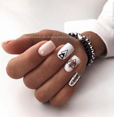 nails - Manicure from @ irisska nails Blagoveshchensk nail nails manicure naildesign nailideas nailart designtool ideide White And Silver Nails, Silver Nail Art, Stylish Nails, Trendy Nails, Cute Nails, Cute Nail Art, Short Square Nails, Short Nails, Best Acrylic Nails