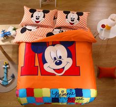 100% Cotton Cheap Infant Bedding Bedding Mickey Mouse Orange Comforter Bedding Sets New Arrival