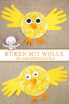 Küken basteln, malen oder stempeln – Bastelnmitkids These chicks get their very own touch by drawing their hands and using them as wings. Crafts with children and toddlers for Easter. Easter in kindergarten. Easter Crafts For Kids, Toddler Crafts, Preschool Crafts, Fun Crafts, Arts And Crafts, Nature Crafts, Creative Crafts, Wood Crafts, Simple Doodles