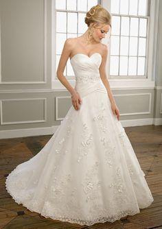 A-Line Sweetheart Embroidery Satin Chapel Train Wedding Dress
