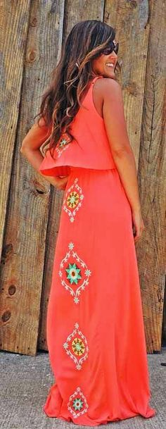 Long Embroidered Back Maxi Skirt with Blouse