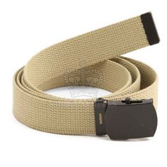 New Khaki Gi Style 1 1 4 Cotton Military Web Belt w Black Buckle 54 Long b95237a406a