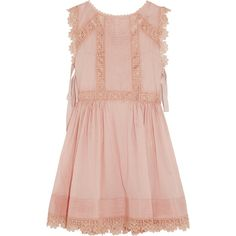 REDValentino Crochet-trimmed cotton-voile mini dress ($805) ❤ liked on Polyvore featuring dresses, vestido, pink dress, red valentino, cotton voile dress, scalloped dress and red valentino dress