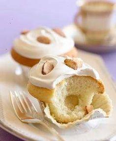 almond cupcakes made with blue diamond almond breeze almond milk.