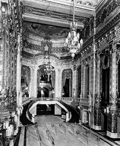 The ornate Grand Lobby and staircase inside the Uptown Theater, 1925, Chicago.