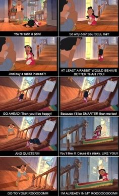 Haha thought this was funny but sad at the same time, Lilo and Stitch Nani and Lilo's fight