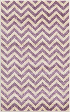 Unique Loom Chevron Purple Area Rug