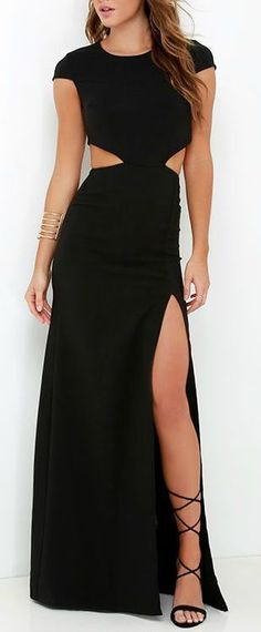 2016 Custom Simple Black Prom Dress,Short Sleeves Evening Dress,Sexy Waist slit…
