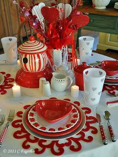 Valentine's Day Party table setting!  How fun