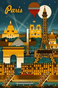 Paris, France - Retro Skyline (no text) - Lantern Press Artwork Giclee Art Print, Gallery Framed, Espresso Wood), Multi Old Poster, Poster Art, Kunst Poster, City Poster, Paris Poster, Photo Vintage, Vintage Paris, Vintage Travel Posters, Retro Posters