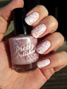 "Pretty & Polished ""Cheer Camp"" - white crelly with pale pink and lavender matte glitter and tiny pink holo glitter."