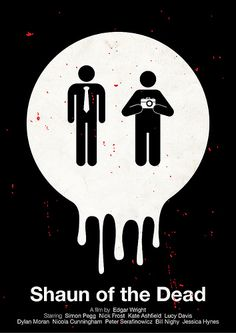 Shaun of the Dead pictogram minimal graphic film poster design by viktor hertz Film Finance, Dylan Moran, Kate Wright, Lucy Davis, Simon Pegg, Horror Posters, Film Posters, Zombie Movies, Alternative Movie Posters