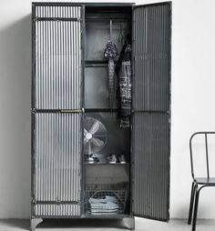 The Corinda Large Corrugated Metal Cabinet from Out There Interiors is perfect for adding storage to a warehouse home, a loft or an industrial space. This sturdy metal cupboard has a distressed finish giving it a very industrial aesthetic. Industrial Bedroom Furniture, Industrial Living, Industrial Chic, Vintage Furniture, Industrial Lockers, Loft Furniture, Kitchen Industrial, Industrial Storage, Iron Furniture