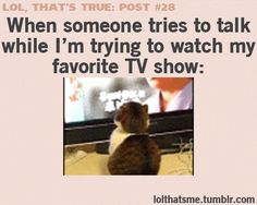 You don't interrupt anyone during their favorite shows!