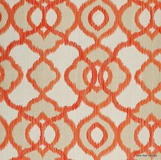 Maxwell Orange Cotton Print Ikat Style From Jane Hall Design