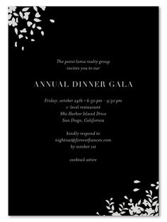 Gala Invitations for black tie corporate event.  Black Tie Gala invitations. illustrated with silver metallic ink!  Printed on 100% recycled, in San Diego, California.