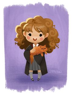 Hermione and Crookshanks by Steph Lew Art