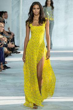 Aliexpress.com : Buy Catwalk High Split Yellow Floral Print Prom ...
