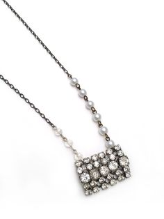 rhinestone pendant necklace upcycled rhinestone by keatleydesigns