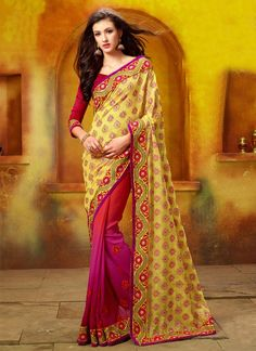 Multicolored Embroidery Faux Georgette Half And Half Saree, Product Code :6331, shop now http://www.sareesaga.com/multicolored-embroidery-faux-georgette-half-and-half-saree-6331  Email :support@sareesaga.com What's App or Call : +91-9825192886