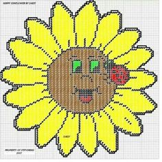 HAPPY SUNFLOWER by DAISY*STITCHEMS -- WALL HANGING -- ALSO HAS A TINY LADYBUG