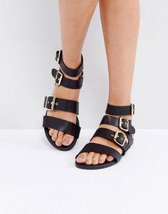 005b2a2e8cb Get this Park Lane s flat sandals now! Click for more details. Worldwide  shipping. Park Lane Metal Trim Buckle Flat Sandals - Black  Shoes by Park  Lane