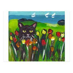 Cat With Tulips Postcards | Zazzle.co.uk