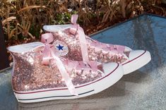 Gold Sequin Converse® High Tops Sneakers Adorable rose gold sequin Converse hi tops with ribbon laces. Perfect for weddings!Adorable rose gold sequin Converse hi tops with ribbon laces. Perfect for weddings! Sequin Converse, Converse All Star, Converse Shoes, Converse High, Pink Glitter Converse, Bling Converse, Bling Shoes, Glitter Shoes, Glitter Hair
