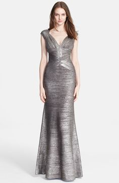 Herve Leger Flared Foiled Bandage Gown available at #Nordstrom