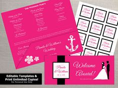 DIY Printable Wedding Boarding Pass Sleeve and 2 x 2 Seal Template | Editble MS Word file | Instant Download | Cruise Ship Hot Pink