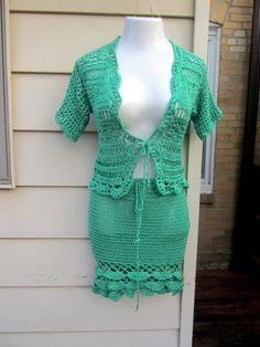 Crochet dress Crochet skirt crochet cardigan by Elegantcrochets, $147.00