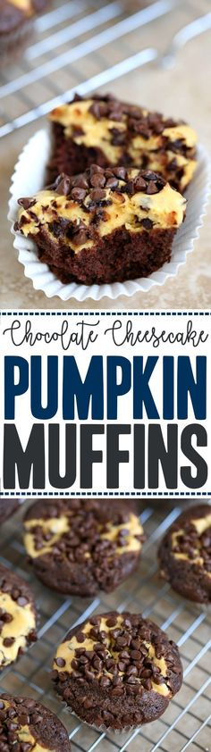 Pumpkin Chocolate Cheesecake Muffins Recipe - breakfast treat for fall, Halloween, and Thanksgiving easy to pack in lunches for your kids for a dessert treat Easy Cupcake Recipes, Easy Appetizer Recipes, Fudge Recipes, Muffin Recipes, Baking Recipes, Dessert Recipes, Breakfast Recipes, Fall Breakfast, Recipes Dinner