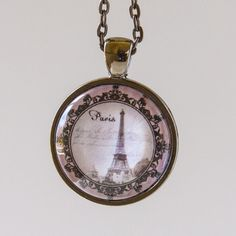 Pink & Black Eiffel Tower Pendant Necklace in by prideandpendants