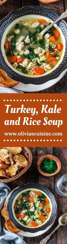 "Turkey, Kale and Rice Soup | www.oliviascuisine.com | Nothing warms you up like a cozy bowl of Turkey, Kale and Rice Soup! Loaded with nutrients and low in fat, so you can stay true to your ""eating healthy"" New Year resolutions. (Sponsored by @Jennie.) #JennieO"