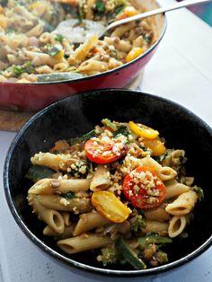 Vegie Head Lentil and Pasta Ragu with Roasted Tomatoes and Kale, and Homemade Vegan Parmesan Sprinkles - Vegie Head