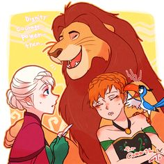Disney Crossovers: Frozen and Lion King omg