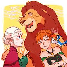 Disney Crossovers: Frozen and Lion King Disney Au, Disney And More, Disney Films, Cute Disney, Disney And Dreamworks, Disney Frozen, Disney Pixar, Disney Rapunzel, Disney Crossovers