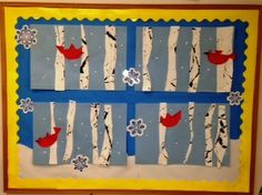"""Kelly's class at Benson Memorial UMC Preschool created this board. Cardinals in trees, birds in winter. Inspired by the story book """"Snowballs"""" by Lois Ehlert Bird Bulletin Boards, Preschool Bulletin Boards, Winter Wonderland Theme, Winter Theme, Preschool Winter, Preschool Ideas, Art For Kids, Crafts For Kids, Arts And Crafts"""