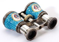 Antique French Kiln-fired Enamel Opera Glasses c. Mid-Late 1800's