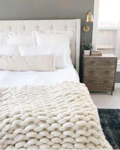 Master bedroom Inspo - dark accent wall - merino wool blanket - @thebloomingnest