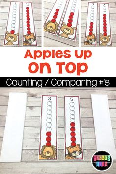 Apples Up on Top Math Game / Center – wanderlust Preschool Apple Activities, Preschool Apple Theme, Preschool Activities, Preschool Apples, Book Activities, Numbers Kindergarten, Math Numbers, Math Games, Dramatic Play