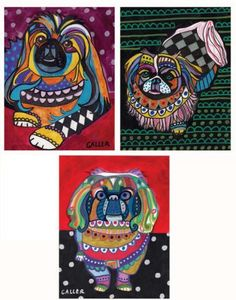 Pekingese ACEO Set by HeatherGallerArt on Etsy, $10.00
