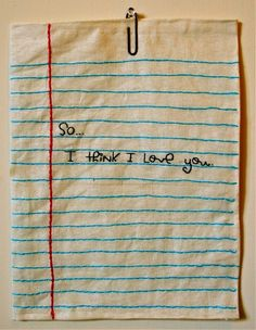 i WANT this to be my first real Embroider piece! hand embroidered notebook paper and handwriting, but I'm still quite smitten with this sweet, simple embroidered love note Paper Embroidery, Cross Stitch Embroidery, Embroidery Patterns, Machine Embroidery, Embroidered Paper, Doily Patterns, Creative Embroidery, Dress Patterns, Sewing Crafts