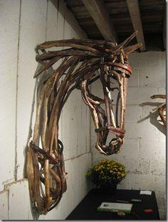 Driftwood horse art.
