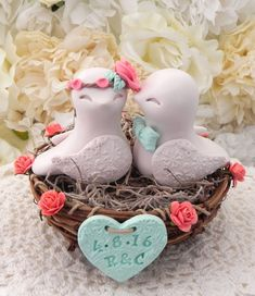 Rustic Love Bird Wedding Cake Topper Coral Beige and by LavaGifts