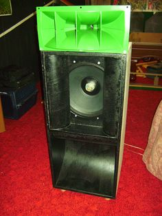 """Speakers. My latest project. High efficiency speaker with a 15"""" woofer and a classic Altec Lansing horn tweeter.It can produce over 100 decibels with one watt of power. I built this to experiment with the new class D tri-path audio amplifiers. It is set up with an electronic crossover and bi amplified."""